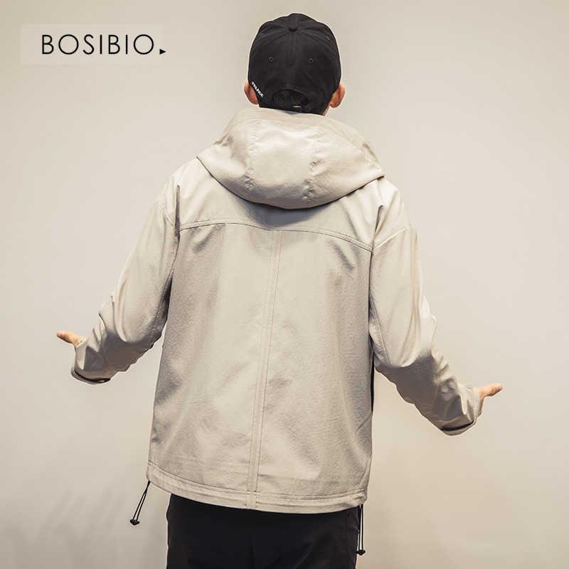 BOSIBIO Мужская ветровка 2019 Весна Осень Мода для мужчин, куртка с капюшоном Slim Fit одноцветное Мужское пальто брендовая одежда 2926
