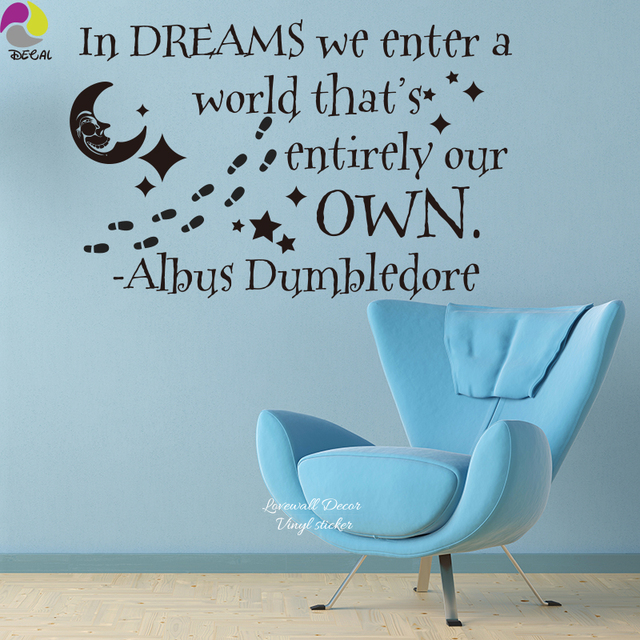 In Dream Harry Potter Albus Dumbledore Quote Wall Sticker Motivational Star  Moon Paw Decal For Decor