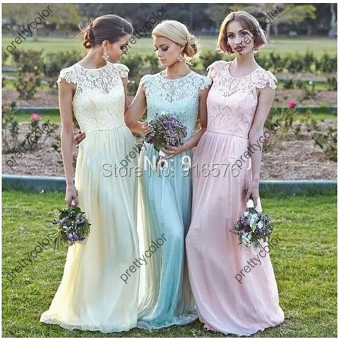 Garden Chiffon Spring Lace Bridesmaid Gowns Maid Of Honor Gown With Cape Sleeves Floor Length Zipper