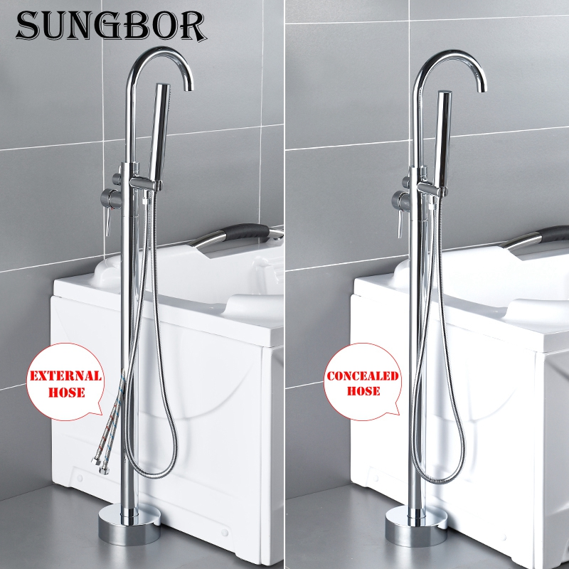 4Colors Bath Tub Sink Faucet Floor Mounted Chrome Bathtub Mixers Freestanding Hot and Cold Bath Shower