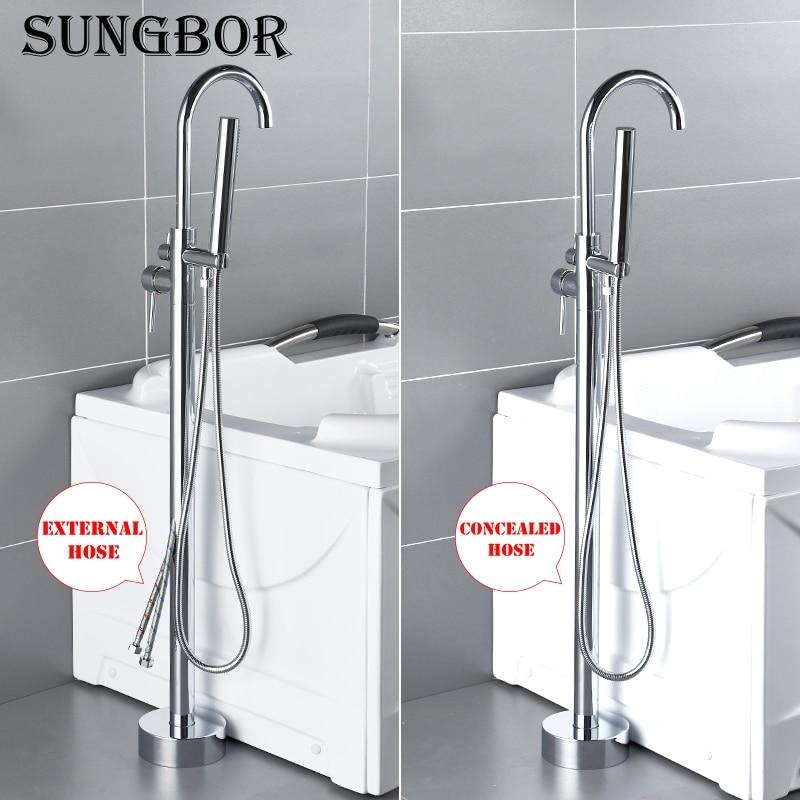 Chrome Freestanding Bathtub Faucet Luxury Shower Set Swan Tub Filler Hand Shower