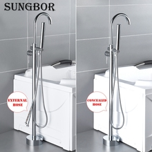 4Colors Bath Tub Sink Faucet Floor Mounted Chrome Bathtub Mixers Freestanding Hot and Cold Bath Shower Set Hand shower HD-2678L1 new ceiling mount rain shower set shower head wall mounted hand shower tub spout 59901a 1 bathtub chrome sink faucets mixers tap