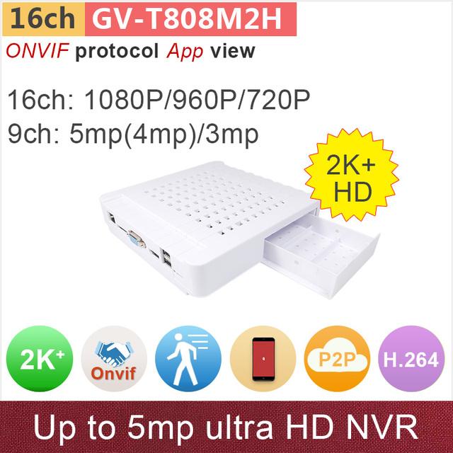 16 canais ONVIF mini NVR gravador de vídeo digital em tempo real 16ch 1080 p/960 p/720 p ou 9ch 5mp/4mp/GANVIS 3mp videovigilância GV-TM816M2H