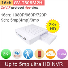 16 channel ONVIF mini NVR digital video recorder 16ch 1080p/960p/720p or 9ch 5mp/4mp/3mp video surveillance GANVIS GV-TM816M2H