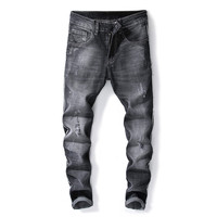 Men Jeans Stretch Destroyed Ripped Fashion designer jeans men high quality black Jeans For Men
