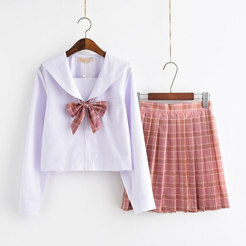 UPHYD Cotton Shirt Plaid Skirt High School Uniform Teenage Girls Sailor Uniforms S-XXL