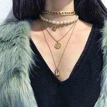 New Vintage Multi-layer Gold Long Pendant Chain Necklace Mixing Coin Simple Geometric Embossed Portrait Necklace Boho Jewelry