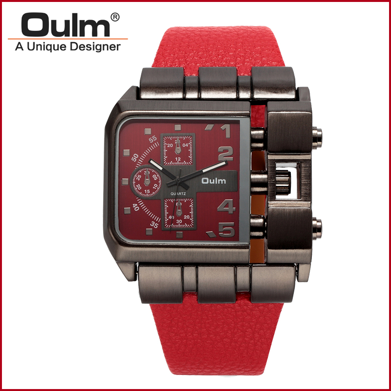 font b Oulm b font 3364 Quartz Watch with Leather Band Square Dial Famous Brand
