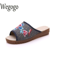 New Arrive Women Slippers Butterfly Embroidery Shoes Retro Embroidered Cloth Canvs Linen Sandals Casual Slippers Woman