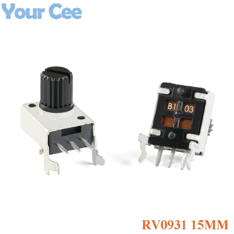 10pcs RV0931 15mm Shaft Side-Adjustable Handle Potentiometer 1K/B102 5K/B502 10K/B103 50K/B503 100K/B504 WH09 0931