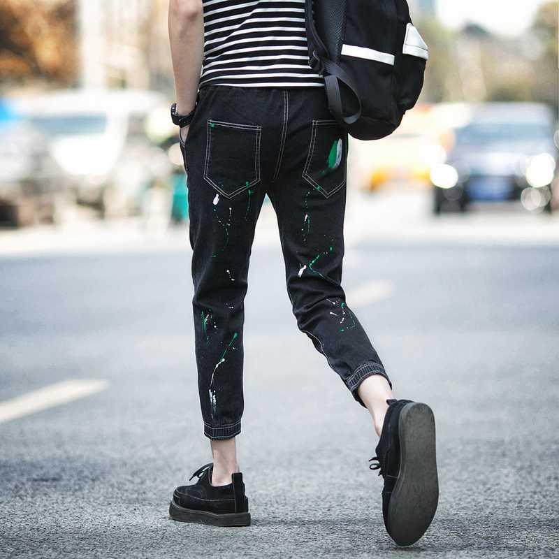 #1925 2016 Spring summer black jeans men Fashion slim fit Ankle-length jeans Hip hop Denim biker jeans Mens baggy jeans Designer