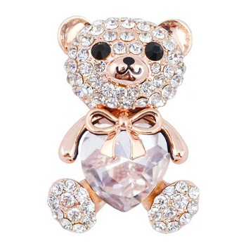 3 colors choose big crystal heart bear brooch cute animal pins and brooches for women fashion jewelry gold plated wedding gift