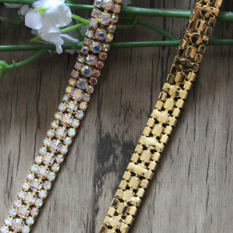 Бесплатная доставка 5 ярдов 3 ряда золото Цвет AB Кристалл Rhinestone цепи, горный хрусталь аппликацией Люкс Sash, горный хрусталь Отделка wk001-1