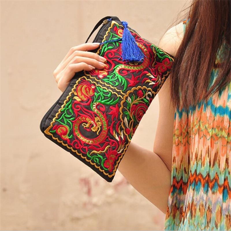 Женская сумка в этническом национальном ретро стиле с бабочками и цветами, сумочка, кошелек с вышивкой, женский клатч с кисточками, небольша...