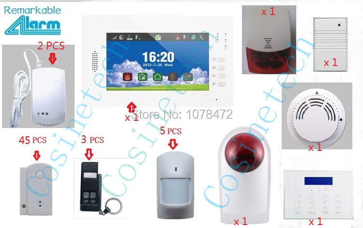 Customized brand new 7 inch Touch Screen SMS GSM home alarm system, advanced security alarm system support App smoke sensor intelligent home security alarm system with new door sensor pir detector app control sms gsm alarm system support rfid keypad
