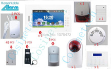 Customized brand new 7 inch Touch Screen SMS GSM  home alarm system, advanced security alarm system support  App smoke sensor