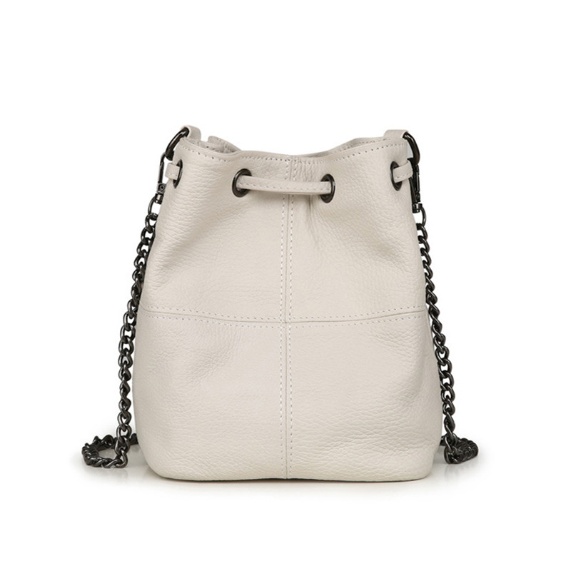 Cow Leather Bucket Bags Women Shoulder Bags Ladies Chain Drawstring Crossbody Bags Messenger Bags
