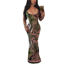 Femmes Sexy Tribal Impression Dos Nu-Parole Longueur Dress Bandage Moulante Dress Vestidos Mujer Femme Robe Party Night Club Dress