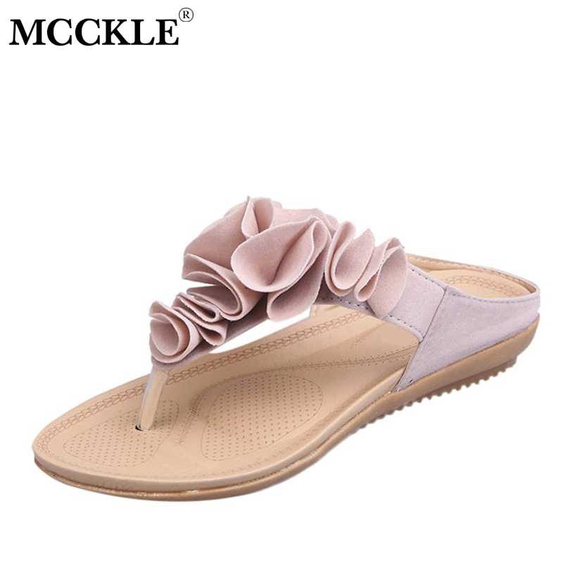 MCCKLE Summer Beach Flip Flops Women Slip On Thong Sandals Fashion Flower Female Flat With Shoes Casual Sewing Slippers For Girl