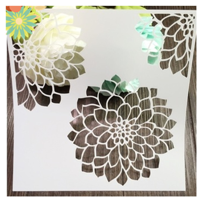 Dahlia Stencil,Flower Template Design,Reusable Painting Template For Scrapbook,Crafting,DIY Albums,Notebook,Card, 15*15cm,2pcs
