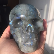 1.4g Realstic Beautiful Natural Labradorite Stone Crystal Carved Skull Healing F