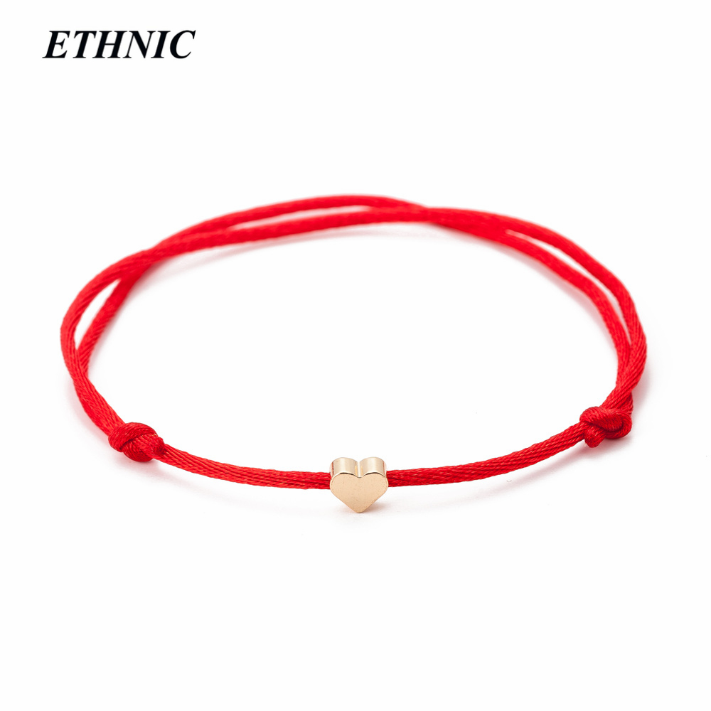 String Bracelet Jewelry Heart-Thread Handmade Gold-Color Women for Rope Red