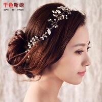 New Fashion Silver Crystal Headband Leaf Pearl Handmade Hair Wear Bride Jewelry Wedding Accessories Milu