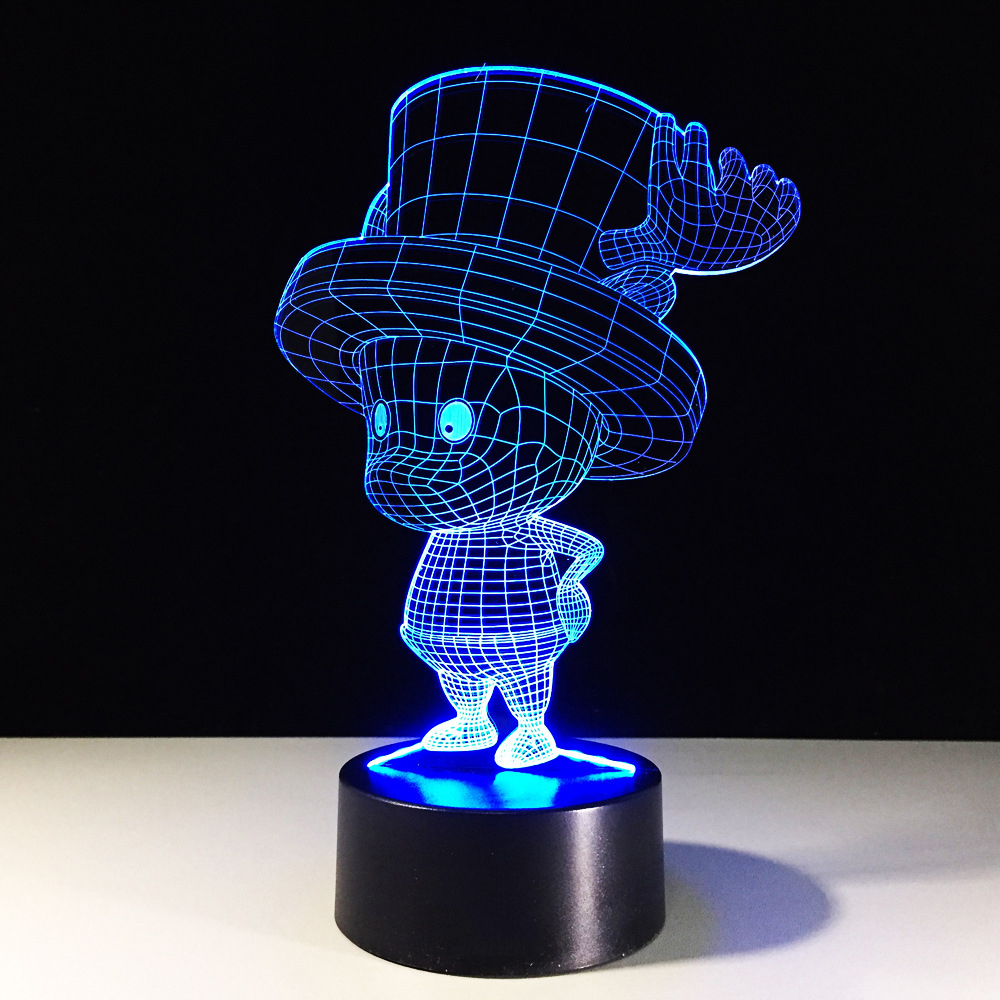 LED 7 Color Changing Vision Night Lights Baby Sleeping Creative 3D Anime One Piece Tony Chopper Desk Lamp Christmas Decor Gifts