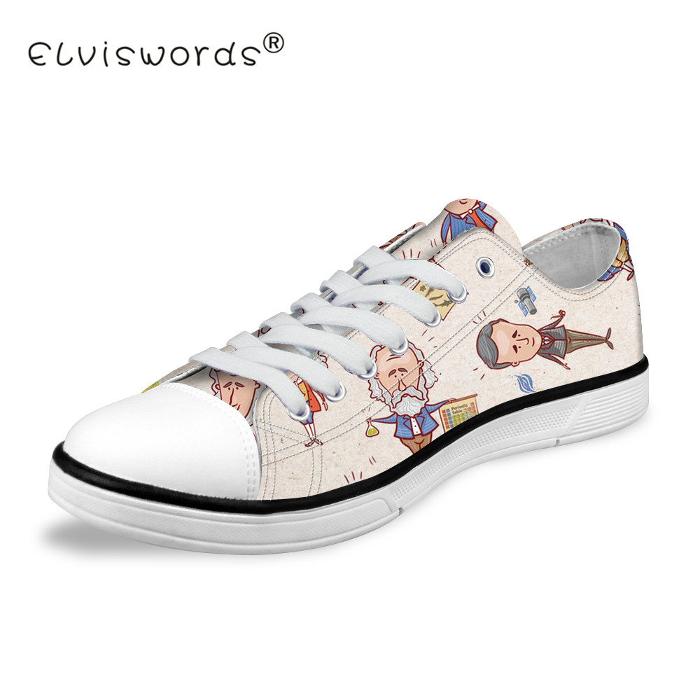 ELVISWORDS Cartoon Character Printed Women Low Top Canvas Shoes Teenagers Art Design Sneakers for Students Fashion Walking Flats