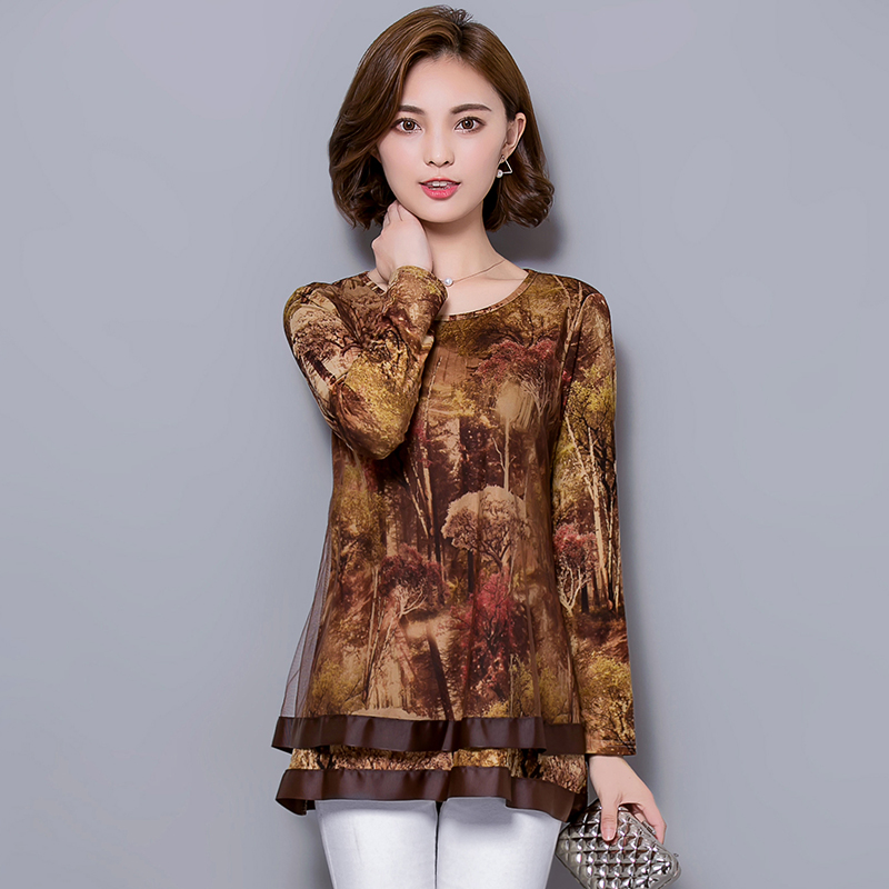 Large size loose women blouses 2016 autumn floral print for Large shirt neck size