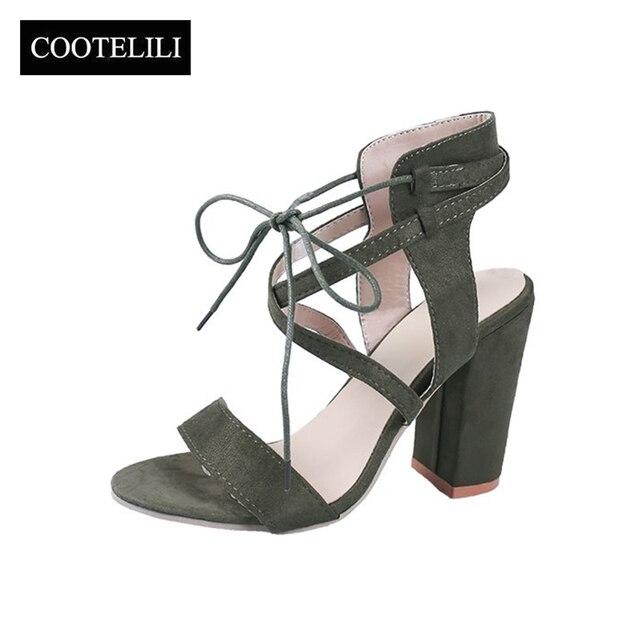 Großhandel Großhandel Frauen Sandalen Gladiator High Heels Pumps Schnalle Strap Schuhe Mode Sommer Damen Schuhe Schwarz Größe 4 9 Sandalia Femini Von