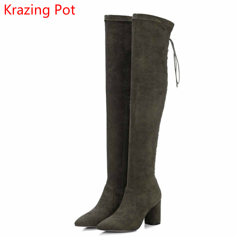 2018 Flannel Pointed Toe Lace Up Rivets Thigh High Boots Classics High Heels Keep Warm Runway Sexy Women Over-the-knee Boots L15 цены онлайн