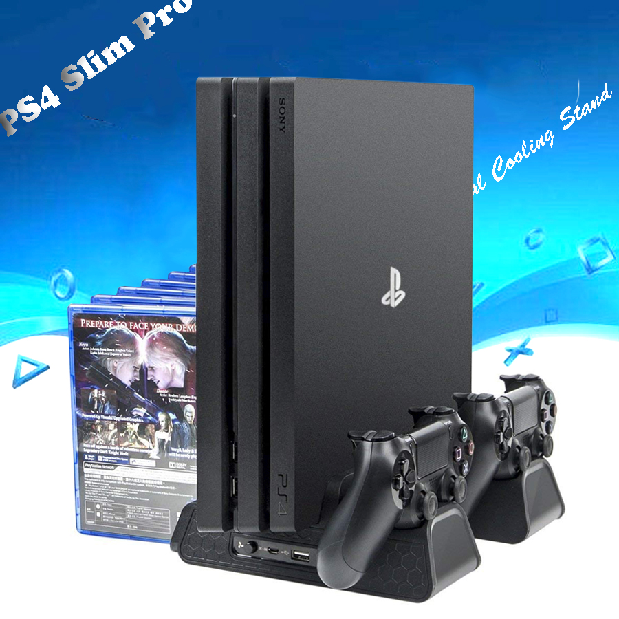 DOBE PS4/PS4 Slim/PS4 Pro Vertical Cooling Stand, PS4 Controller Charger with 12 Gaming Disks Storage for Playstation 4 PS4 видеоигра для ps4 ratchet
