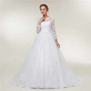 Image 3 - Fansmile Lange Mouwen Vestido De Noiva Lace Toga Trouwjurk 2020 Trein Maatwerk Plus Size Bruids Tule Mariage FSM 603T