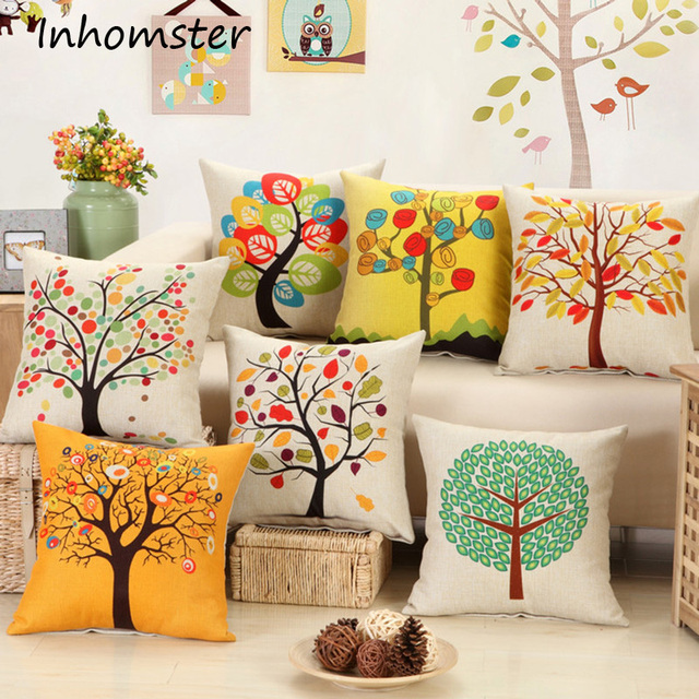 Digital Print Cushions Without Insert Tree Birds Yellow Design Sofa New Decorative Pillows With Birds