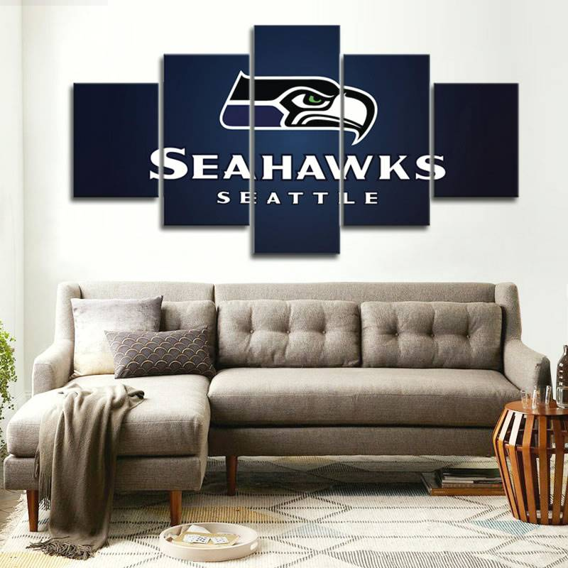 5 Pcs Seahawks Seattle Sport Logo On Canva Sport Painting Unique Wall Art Modern Abstract Art Deco Hand Painted Picture Painting