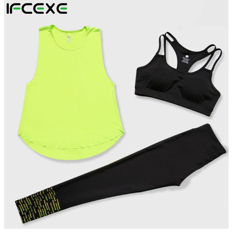 Women Quick Dry Yoga Sets for Gym Running Yoga T-Shirt Tops & Sports Bra Vest & Fitness title=