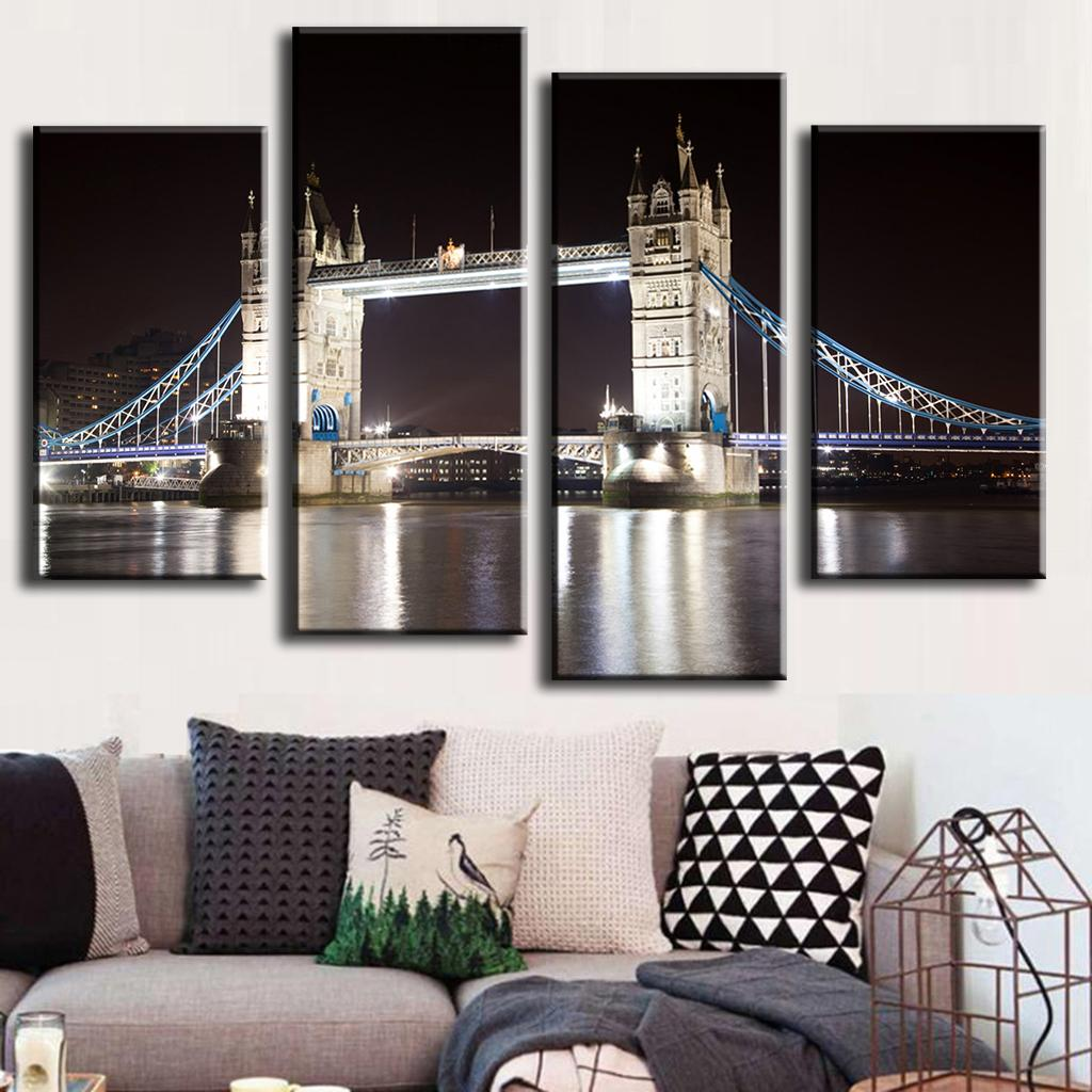 4 Pcs/Set Combined Paintings London Bridge Canvas Wall Art Picture Modern Wall Painting Wall Art Top Home Decoration,