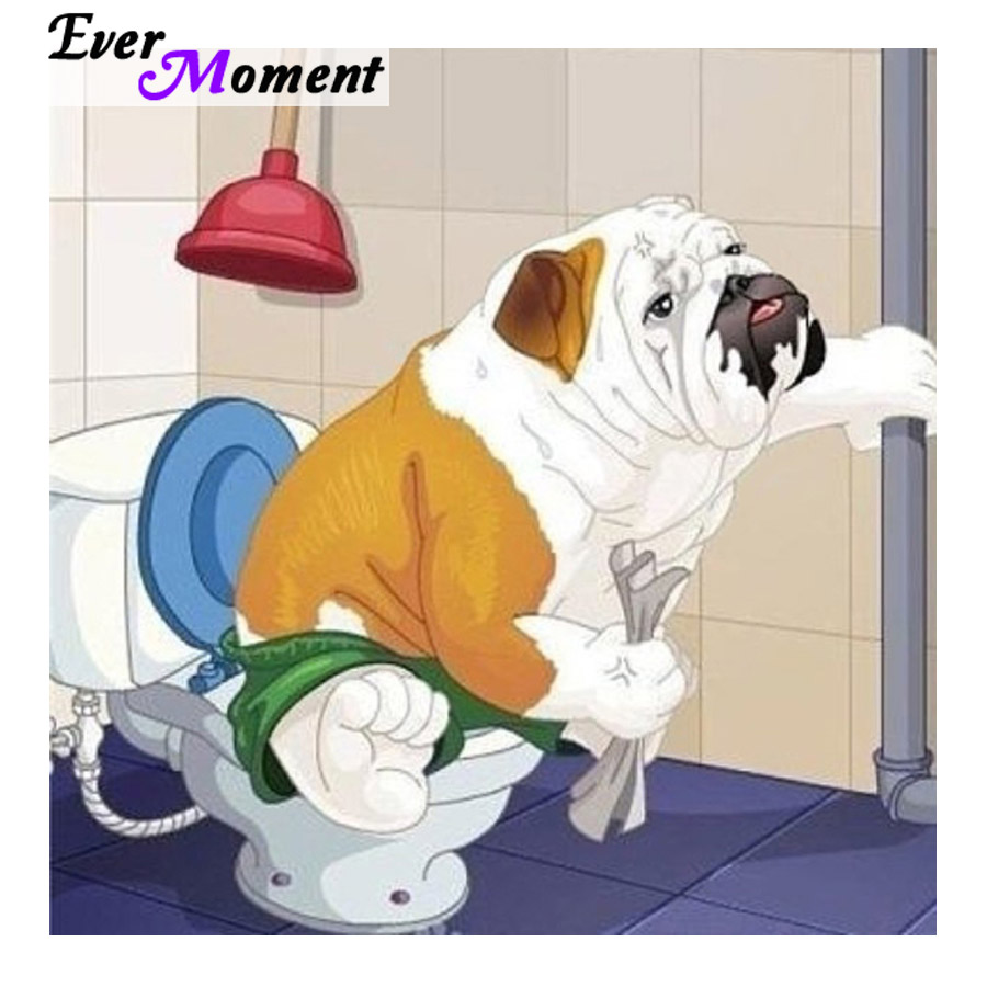 Ever Moment Diamond Painting Funny Toilet Dog DIY 5D Diamond Embroidery Rhinestones Full Layout Square Stones Animal Kit ASF934