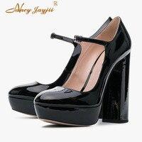 Womens Pumps Ladies Shoes Purple Platform Super High Heels Mary Janes Famous Footwear Mature Plus Size 44 45 Spring Summer 2019