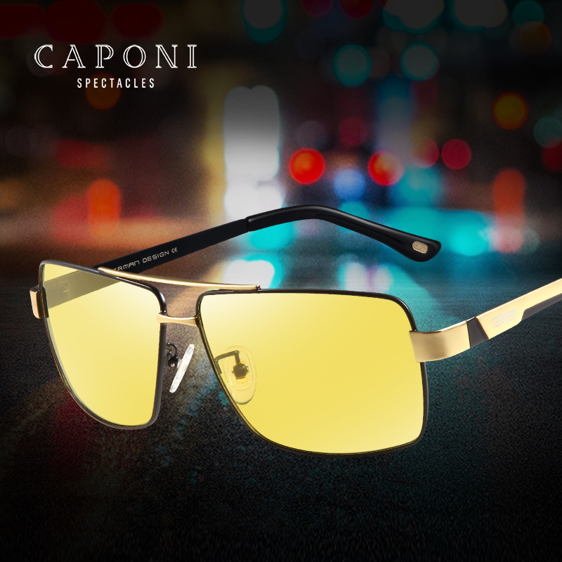CAPONI Alloy Men Sunglasses Photochromic Driving Day And Night Vision Sun Glasses Polarized Yellow Lenses Eyewear BSYS031