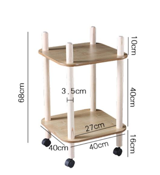 40*40CM Two layers Coffee Table Side Table kitchen Storage Rack Small Dining Car With Wheels coffee table