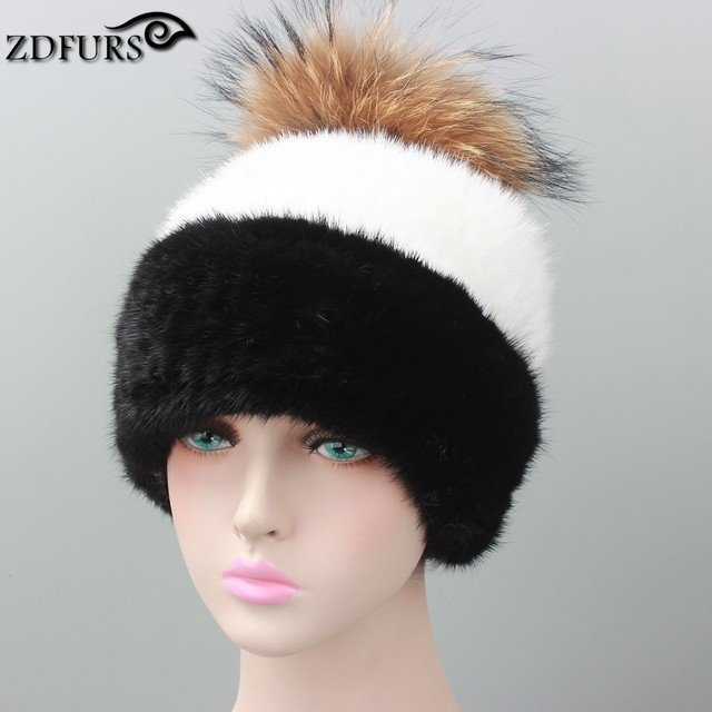 Winter fur hat for women real mink fur strip cap  casual hats knitted beanies with fox fur poms 2016 brand new fashion headgear