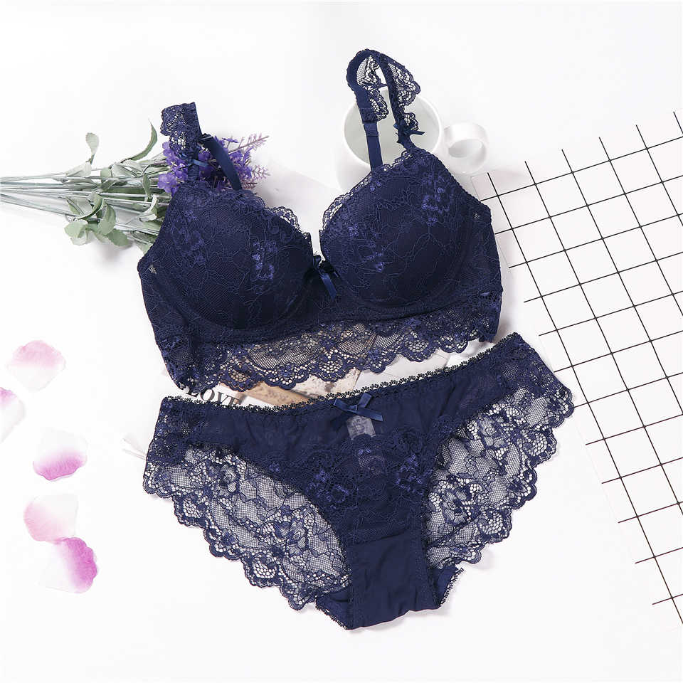 ee99c77ae7 lingerie big push up underwear set women lace bra set plus size ABCD Cups  floral sexy