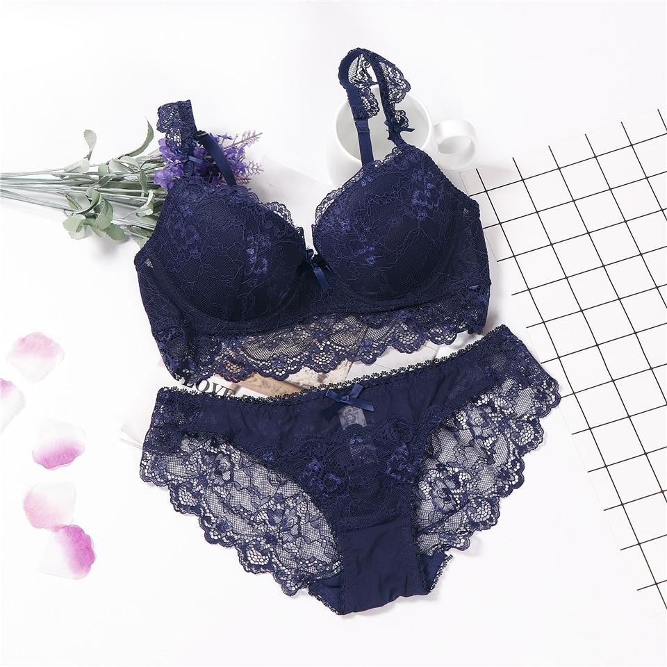 Elegant Floral Hook Padded Underwear Women Bra/&Panties Set Push Up Bra Set