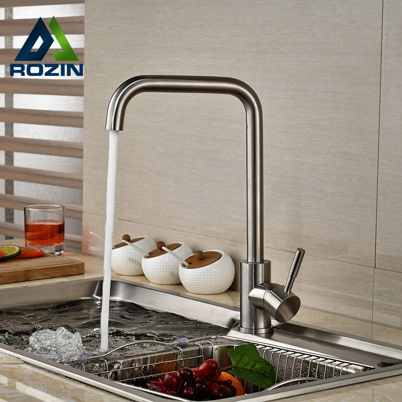ФОТО Single Handle Vertical Rotation Kitchen Sink Faucet Deck Mount One Hole Mixer Water Taps Brushed Nickel Finish