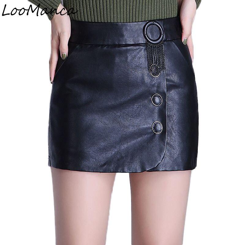 Plus Size Leather PU Skirt Autumn Winter Fashion Black Pencil Mini Skirt Slim OL Office Women Vintage Short Skirt