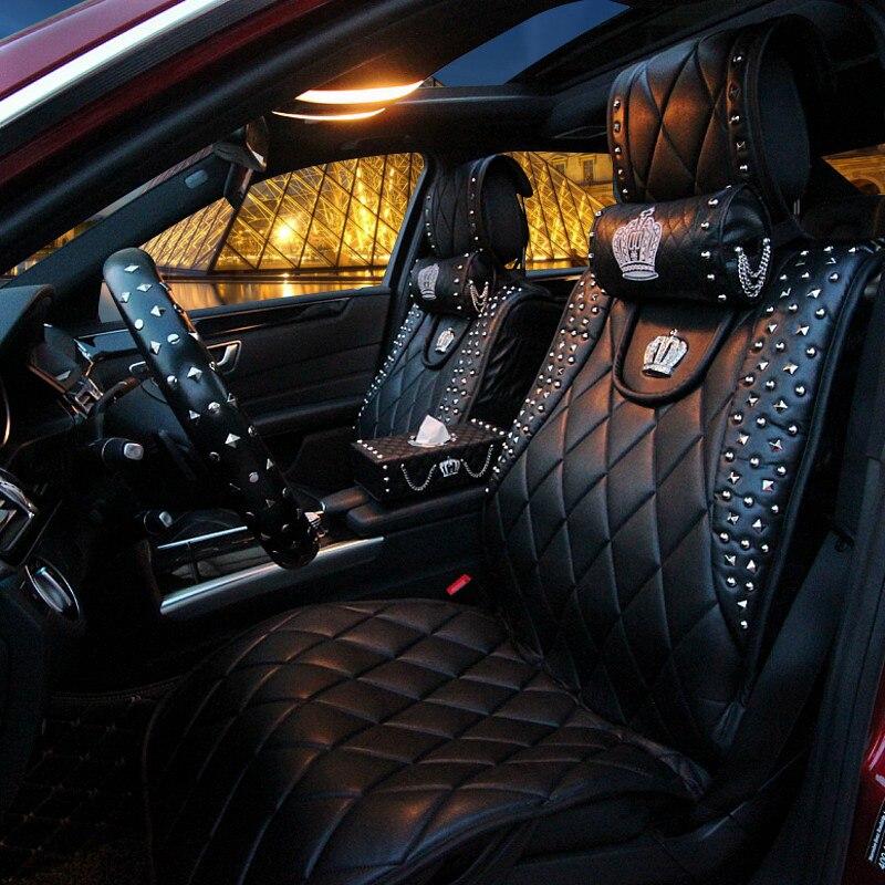 Personalisierte Leder Autositzbezüge Punk Rivet Crown Universal-Automobile Sitzkissen Vorne und Hinten Automatten Vier Jahreszeiten Allgemeine