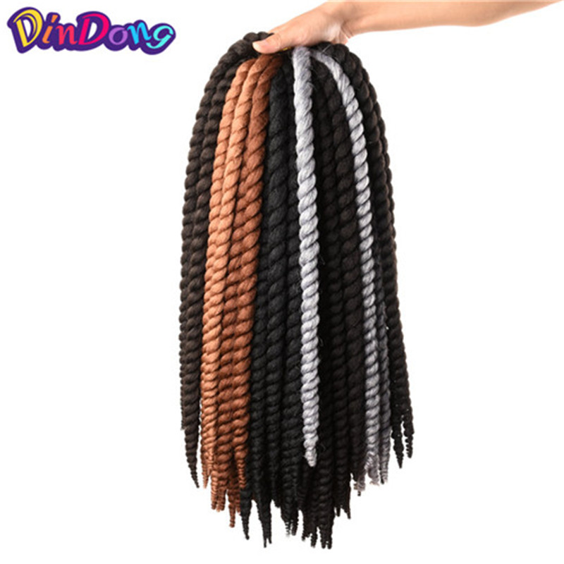 DinDong 12 18 22  Crochet Braid Synthetic Havana Twist Hiar 8 Pure Colors Available 12 Roots Crochet Twist For Black Wemon ...