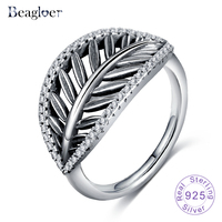 Beagloer 100 925 Sterling Silver Tropical Palm Leaf Ring For Women Ancient Silver Rings Engagement Jewelry